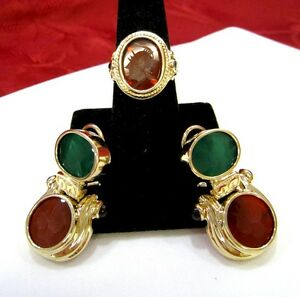 14K YELLOW GOLD CHRYSOPRASE AND CARNELIAN INTAGLIO RING & EARRINGS SET ITALY