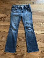 Bebe Women's Size 28 Flared Boot Cut Dark Washed Embellished Denim Blue Jeans