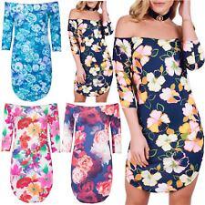 Womens Ladies Floral Printed Off The Shoulder Bardot 3/4 Sleeve Curved Hem Dress