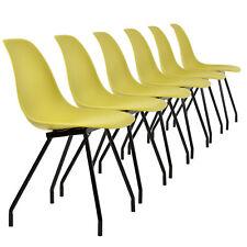 [en.casa] 6x design chaises de salle moutarde Chaise plastique plastique rétro