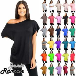 New Womens Plain Oversized Off Shoulder Bardot Slash Neck T-Shirt Baggy Tee Top