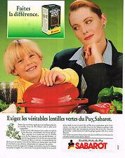 PUBLICITE ADVERTISING 025  1989  SABARO véritables lentilles vertes du PUY