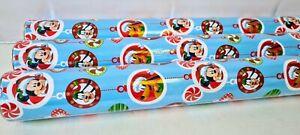 3 x Rolls of 6M Disney Mickey Minnie Pluto Christmas Gift Wrap Roll No Label