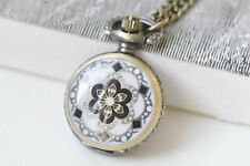 Small Pocket Watch Necklace 27mm A3707 1 Pc Antique Bronze White Enamel Flower
