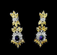 44 x 14 mm, 925 Sterling Silber Ohrringe, Schwarz Opal, Citrin & Weiß Topas, Neu