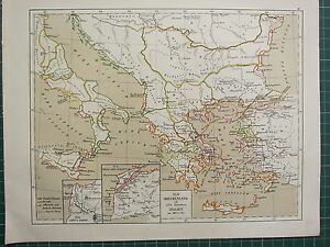 1875 ANTIQUE HISTORICAL MAP ~ GREECE TROY CAMPUS TROAS 500AD SOUTHERN ITALY