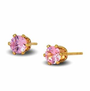 18ct Gold Filled Womens Stud Earrings with Pink CZ Crystals 18K GF 5mm