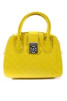 Folli Follie Womens Patent Leather Embossed Clover Medium Satchel Handbag Yellow