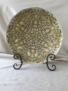 """13"""" Diameter, Cream and Gold Beautiful Centerpiece Plate/Bowl made in Turkey"""