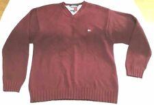 Tommy Hilfiger burgundy v-neck sweater men sz M vtg 90s embroidered logo