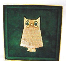 Vintage Avon gold Owl perfume pin brooch in original box