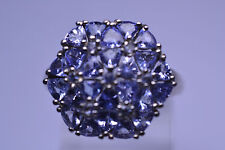 STERLING SILVER FAUX TANZANITE CLUSTER RING IN HEXAGON SHAPE SIZE 8.5