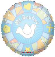 "Balloon 18"" Mi Bautizo Blue Dove Spanish Baptism Mylar Party Decorations Gifts"