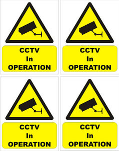 CCTV warning sticker X 4 security camera sign sticky back/face 5cmx4cm