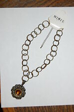 Womens Fashion Necklace by Mixit-JC Penney-Amber Stone Flower Pendant-NEW !