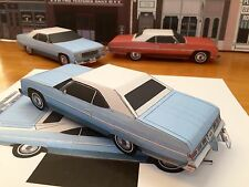 Papercraft Chevrolet Caprice Lt blue color Paper Model Car EZU-make 1975