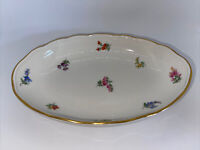 Meissen Porcelain Antique Oval Vegetable Bowl Scattered Flowers A+ Condition