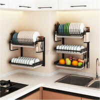 Stainless Steel Shelf Rack Drying Drain Storage Plate Sink Dish Kitchen Holder