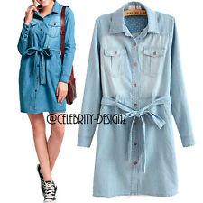 Denim Short Sleeve Solid Dresses for Women