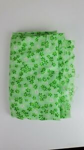 1960s 1970s Floral Sheer Fabric Flowers Print Green 10ft x 3ft