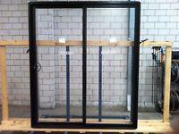 BLACK 2100HX1800W ALUMINIUM SLIDING DOOR WITH 6.3 CLEAR LAMINATED GLASS