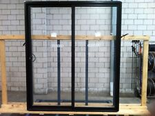 BLACK 2100HX1800W ALUMINIUM SLIDING DOOR WITH 6.3 CLEAR LAMINATED GLASS
