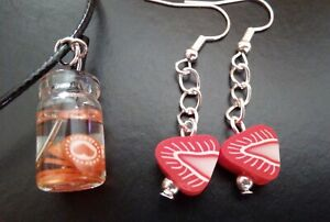 A Fun Set Polymer Clay Slice Strawberry Earrings and Glass Drink Necklace FUN