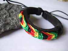 Rasta Cotton Silk Cord Reggae Jamaica Wrap Leather Bracelet Surfer Adjustable