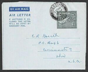 Cyprus Postal Stationary Aerogramme Cover Nicosia Airmail to USA, FDC? 1952