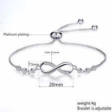 Crystal Adjustable Silver Infinity Friendship Bridesmaid Bracelet Cubic Zirconia