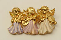 Beautiful Vintage Goldtone 3 Angels Playing Music Brooch Pin O1
