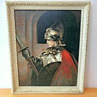 Vintage 60s Medieval Knight Female? Joust Paint by Number Painting Framed 19x23