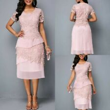 Mother of the Bride Groom Dresses Pink Short Sleeves Appliques Lace Custom Made