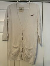 Hollister Womens White Cardigan Sweater Pockets Large