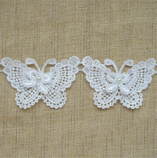 10 Vintage Butterfly Bow Pearl Lace Edge Trim Wedding Ribbon Applique DIY Sewing