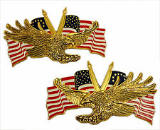 Right / Left emblem set, screaming eagle w/ US flags 4 1/2""