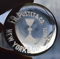 Catholic Chalice Antique Advertising Frederick Pustet & Co. Glass Paperweight NY