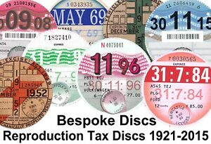 Replica Reproduction Vintage Bespoke Road Tax Disc Classic Ford MG VW Austin