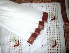WEARABLE ANTIQUE VINTAGE SARI SAREE OFF-WHITE PEACOCKS 5 YDS EMBROIDERED BEAUTY