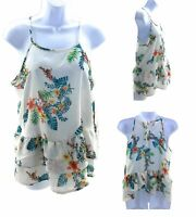 Lily White Tank Top Women's White with Multi Color Hawaiian Floral Sleeveless