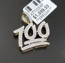 10k White Gold Mens 100 Percent Emoji Diamond Pendant Charm Logo Micro Pave
