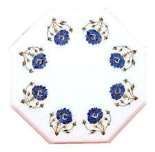 "12"" white Marble corner Table top lapis semi precious stones inlay art work"