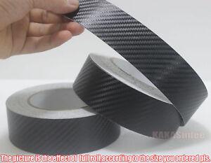 """1.2"""" Wide Adhesive Car Black 3D Texture Carbon Fiber Vinyl Tape Wrap Sticker CB"""