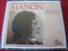 JULES MASSENET: MANON - GERMAINE FERALDY- CLASSICAL COLLECTOR (2 CD 1990 FRANCE)