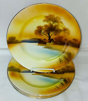 "4 Noritake* TREE IN THE MEADOW* 8 1/2"" LUNCHEON PLATES*RED MARK*"