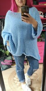 NEW COLOUR! ICE BLUE SOFT SLOUCHY LADIES LOOSE CHUNKY KNIT JUMPER O/SIZE10-20