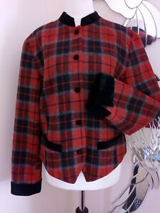 Red tartan velvet collared jacket - Steampunk