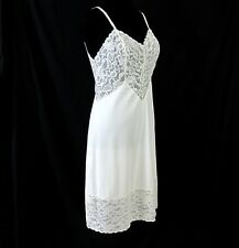 Vanity Fair Size 36 Full Slip Vintage 1950s White Lace Nylon Tricot Made in USA