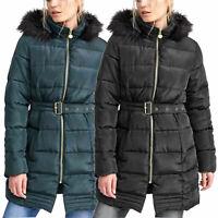 Womens Dunn Fur Hooded Padded Belted Puffer Longline Winter Ladies Jacket Coat