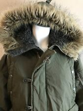 Abercrombie & Fitch Juniors Large Green Military Parka Type A No 895 Lined Hood
